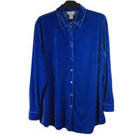 Soft Surroundings Blue Velvet Boyfriend Shirt Long Sleeve Top Tunic   X Large XL