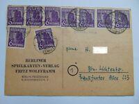 Postkarte Drucksache Währungsreform 1948 Neunfachfrankatur 6 Pf. ABGA Mi 944a