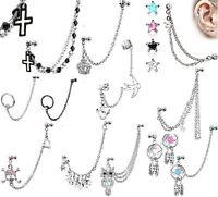 Cartilage Chain Dangle Upper Ear Piercing Earring Tragus Cuff Bar Helix (C42)