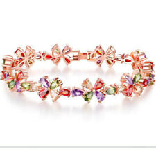 Rainbow Colored Fire Topaz Rose Gold Plated Flower Bracelets For Woman