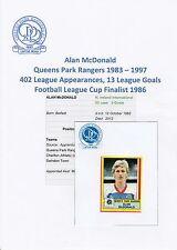 Alan mcdonald queens park rangers 1983-97 rare orig signée panini autocollant-utilisé