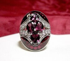 925 STERLING SILVER OVAL CUT PINK GEM STONE ENAMEL AND CRYSTAL RING SIZE 10.25