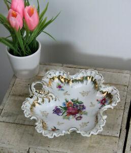 Antique French porcelain bonbonniere small bowl floral decor