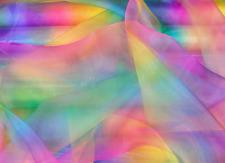Rainbow Organza Voile Theatre Childrens Fabric Material 150 Cm Wide per Metre