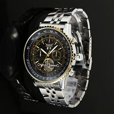 Self-winding Mens Watch Automatic Black Dial Date Stainless Steel Case Band Man