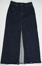 Gap Long Denim Skirt Dark Wash Front Slit Stretch Women's 8