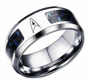 Star Trek Original Command Symbol With Blue Carbon Fiber Stainless Steel RING