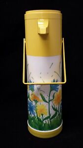 Aladdin Pump A Drink Hot Cold Thermos Floral Yellow 1 Qt Flowers Coffee Tea