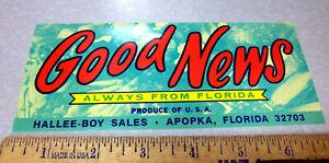 Vintage Original Label, 1960s GOOD NEWS Fruit Crate Label, NEW, Florida