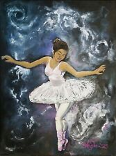 Ballerina Acrylic Painting Ballet Dance Tutu Girl Night Sky - ACEO Print 1 of 10