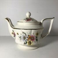 "Vintage Arthur Wood & Sons Teapot -Ivory with Floral Design- 9""x 7"" Tall-1960's"