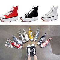 Punk Womens Lace Up High Top Casual Canvas Sneakers Flat Platform Oxfords Shoes