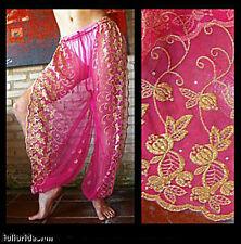 Harem Pants Belly Dance Fuchsia Pink w/ Gold Brocade Slit 4