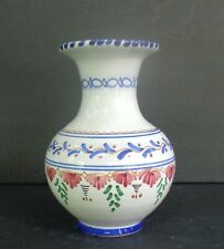 """Spanish Pottery Hand-painted Vase 8 1/4"""" tall by 4 1/2"""" at rim"""
