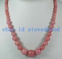 Exquisite 6-14mm Rosa Rhodochrosit Runde Edelstein Perlen Halskette 18'' AAA