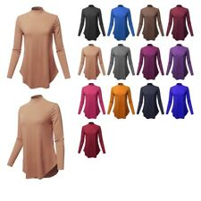 FashionOutfit Women's Solid Long Sleeves Round Flowy Hem Mock Neck Shirt Top