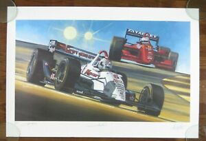 """MARIO & MICHAEL ANDRETTI VINTAGE 1990s SIGNED / AUTOGRAPHED LITHOGRAPH 25"""" x 38"""""""