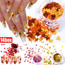 12Box Holographic Maple Leaf Nail Art Sequins Glitter Fall Leaves Nail Supplies