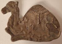 Vintage Solid Brass Camel Trinket Change Dish Ashtray Syrian Tray