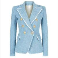 Occident Women double-breasted knitted Lapel Collar blazer jacket coat Outwear