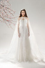 Ivory  Lace Appliques Long Cloaks Mantle Wedding Cape Overlay Bridal Gown Shawl