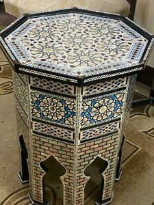 """Antique Moroccan Side Table End Table wood Inlaid Mother of Pearl (16.6""""x16.6"""")"""