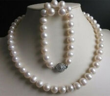 Natural 9-10MM White Freshwater Cultured Pearl Necklace Bracelet Earrings Set AA