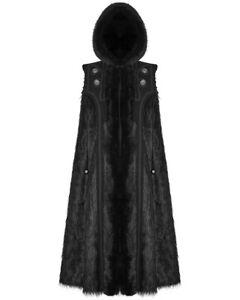 Punk Rave Mens Gothic Cloak Coat Black Faux Fur Hooded Steampunk Knight GOT LARP