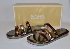 Michael Kors Keiko Slide Sandals Gunmetal Silver Sz 8 M MSRP $79