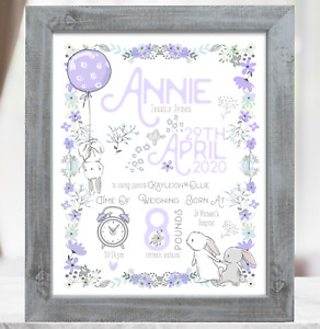 Lilac Rabbit Personalised New Baby Girl Gift, Christening Baptism Baby Present