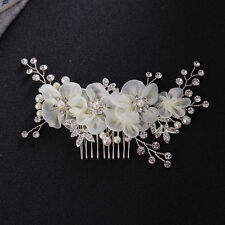 Alloy Bridal Rhinestone Hair Comb Wedding Bridesmaid Pearl Crystal Hair Piece