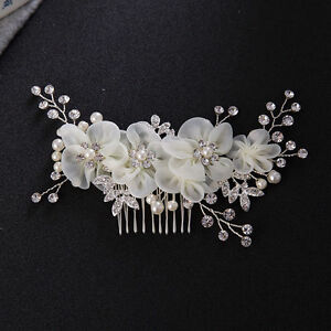 Alloy Bridal Rhinestone Hair Comb Wedding Bridesmaid Pearl Crystal Hair Piece