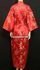 Elegant Handmade Dragon Design Silk Satin Long Kimono Robe w/ Waist Tie, Red