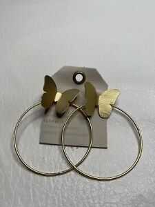 Anthropologie Large Butterflies Hoop Earrings 48509954 $38