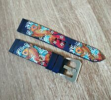 Handcrafted BLUE Japanese Carp Koi tattoo painted Strap FREE BUCKLE.