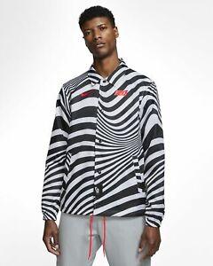 Nike NSW Air Max Coaches Zebra Jacket  - White/Black-Bright Crimson - Size M