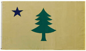 Maine Historic 1900 Yellow 100D Woven Poly Nylon 2x3 2'x3' Flag Banner Grommets