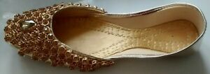 Khussay flat shoes in gold with Gold diamante size 5