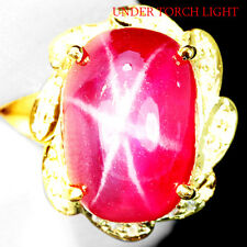 LOVELY 11.50 CT. 6 RAYS PINKISH RED STAR RUBY REAL 925 SILVER RING SZ 6.50 US