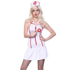 Costumi e travestimenti bianchi per carnevale e teatro da donna sul medici e infermieri