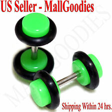 2037 Neon Lime Green Fake Cheater Illusion Faux Ear Plugs 16G Bar 4G = 5mm 2pcs