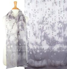 12P AUTH. NEW CHANEL LONG SILK SCARF WRAP SHAWL LOGO ICONIC DIAMONDS PEARL PRINT