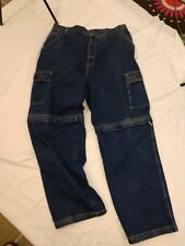 Vintage Bugle Boy Jeans Mens Cargo Pants Size 40 Zipper Off Leg Shorts 90s