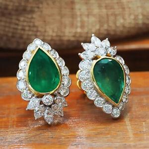 Elegant Hoop Earrings for Women 925 Silver Engagement Jewelry Emerald A Pair/set