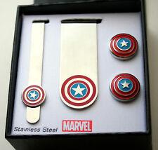 Marvel Comics Captain America Cuff Links Money Clip Tie Bar 4Pc Set New NOS Box