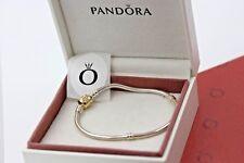 "Genuine Pandora Silver Bracelet & 14k Gold Clasp 7.5"" 590702HG-19 with box shown"