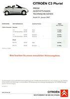Citroen C3 Pluriel Preisliste 2007 1.1.07 Preise Technische Daten Ausstattungen