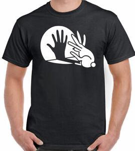 Rabbit T-Shirt Hand Shadow Mens Funny Puppet Novelty Joke Father's Dan Birthday