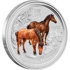 Perth Mint Australia 2014 $ 0.5 Coloured Horse Half 1/2 oz .999 Silver Coin