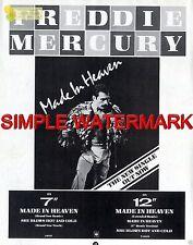 "Sh85-16/7p44 FREDDIE MERCURY : MADE IN HEAVEN SINGLE ADVERT 11X8"""